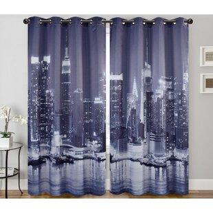 New York Cit Digital Printing Curtain Panels Set Of 2