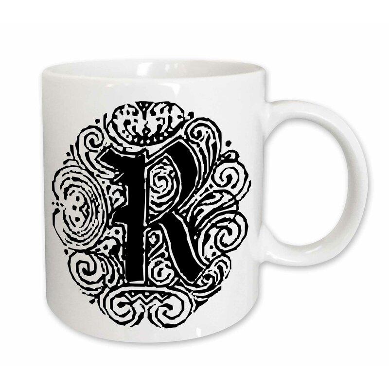 East Urban Home Fancy Letter R Coffee Mug Wayfair