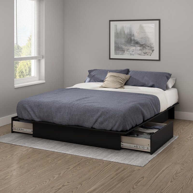 South Shore Step One Full Queen Platform Bed Gray Oak