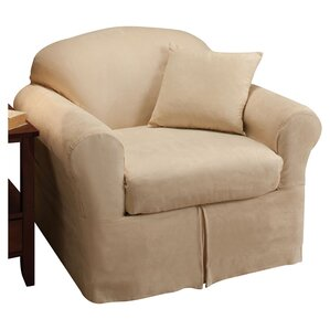 Microsuede Box Cushion Armchair Slipcover by..
