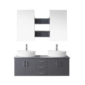 camren 59 double bathroom vanity set with white top and mirror