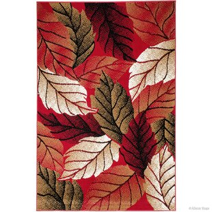 Landry Abstract Dynamix Leaves Designed Red Area Rug