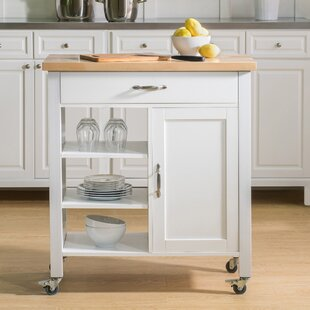 Elnora Kitchen Cart with Solid Wood Top