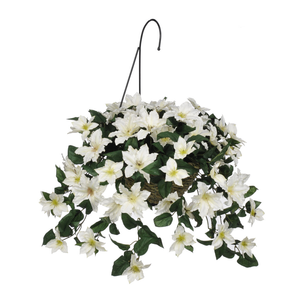 August Grove Faux Clematis Trailing Flowering Plant In Basket Wayfair