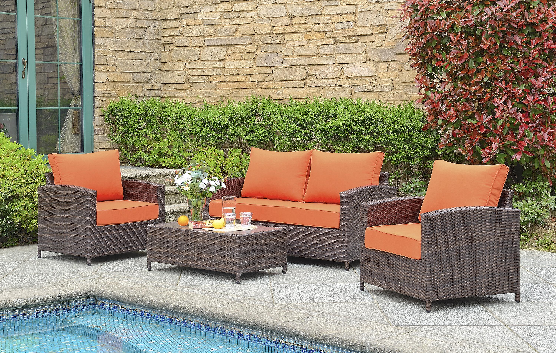 Gracie oaks buschwick 4 piece rattan sofa seating group with cushions reviews wayfair
