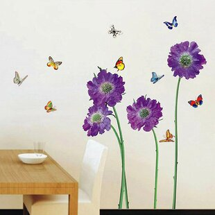 Purple Flower U0026 Butterfly Wall Decal
