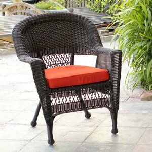 Burrowes Wicker Chair with Cushion (Set of 2)