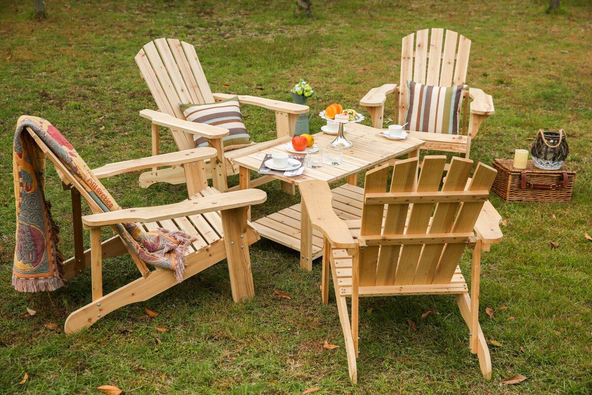 Riffle Solid Wood Adirondack Chair With Table