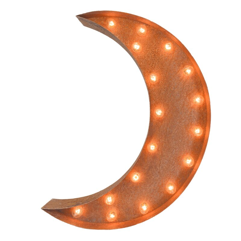 Crescent Moon Steel Marquee Light Wall Décor