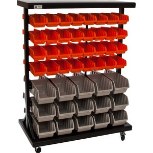 Dual-Sided Wheeled Mobile Bin Rack