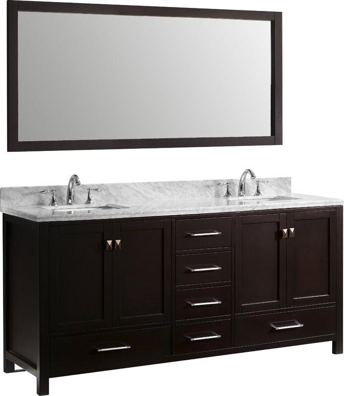 """Double Bathroom Vanities With Tops zipcode design melba 72.8"""" double bathroom vanity set with carrara"""