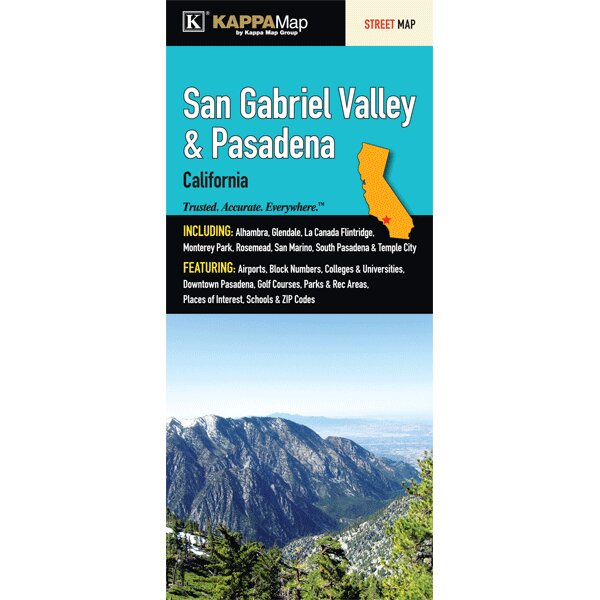 San Gabriel Valley Zip Code Map.Universal Map San Gabriel Valley And Pasadena Fold Map Wayfair
