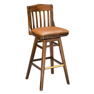 Beechwood School House Upholstered Seat Swivel Bar Stool