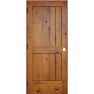 Captivating Rustic V Groove Solid Wood Panelled Slab Interior Swinging Door