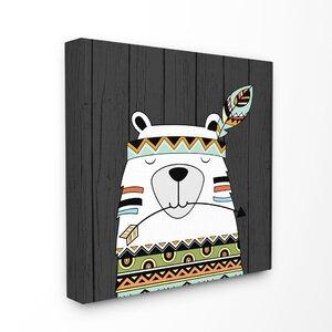 Tribal Boho Bear Canvas Wall Art