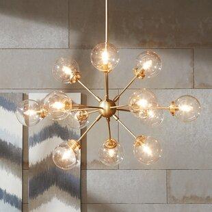 Mid century modern chandeliers youll love wayfair benites 12 light sputnik chandelier mozeypictures Choice Image