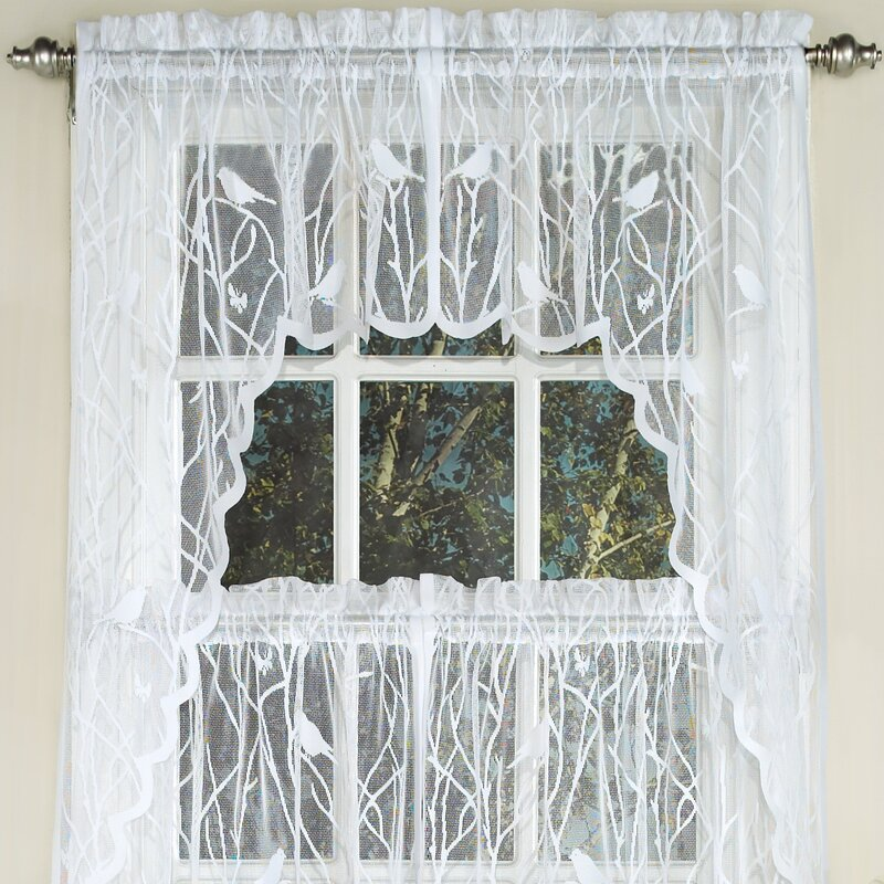 Knit Lace Song Bird Motif Kitchen Curtains