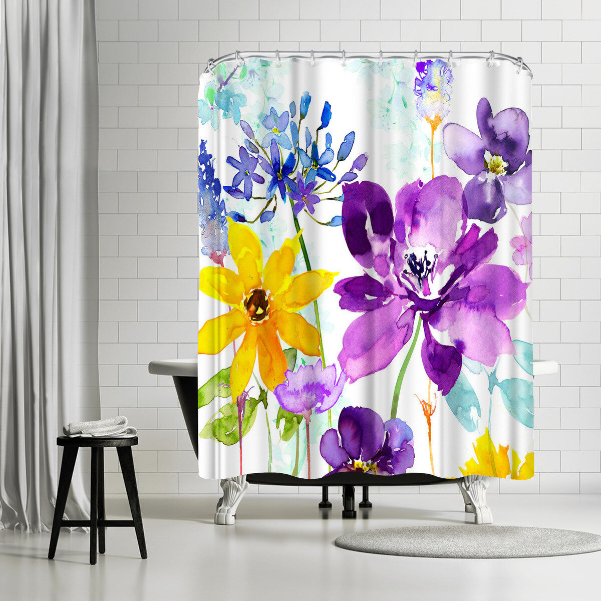East Urban Home Harrison Ripley Floral Shimmer Shower Curtain