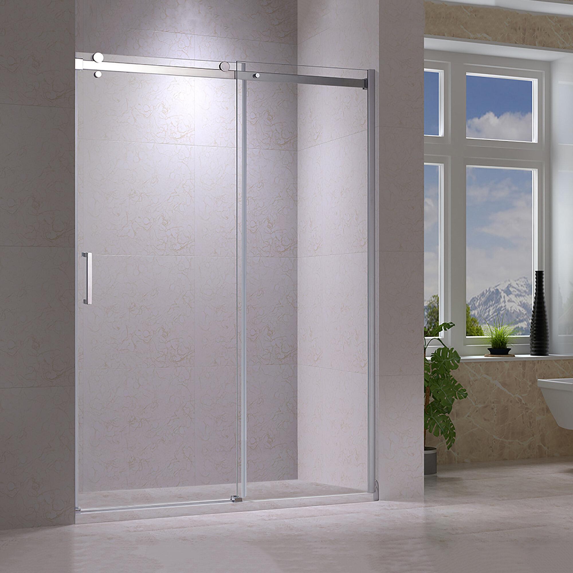 Eva I 58 25 X 78 75 Single Sliding Semi Frameless Shower Door
