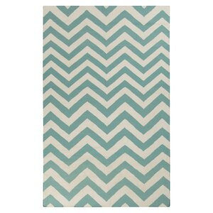 Diego Winter White/Sea Blue Chevron Area Rug