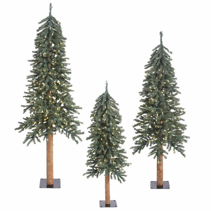 Artificial Christmas Tree Warehouse: The Holiday Aisle 3 Piece Natural Bark Alpine Artificial
