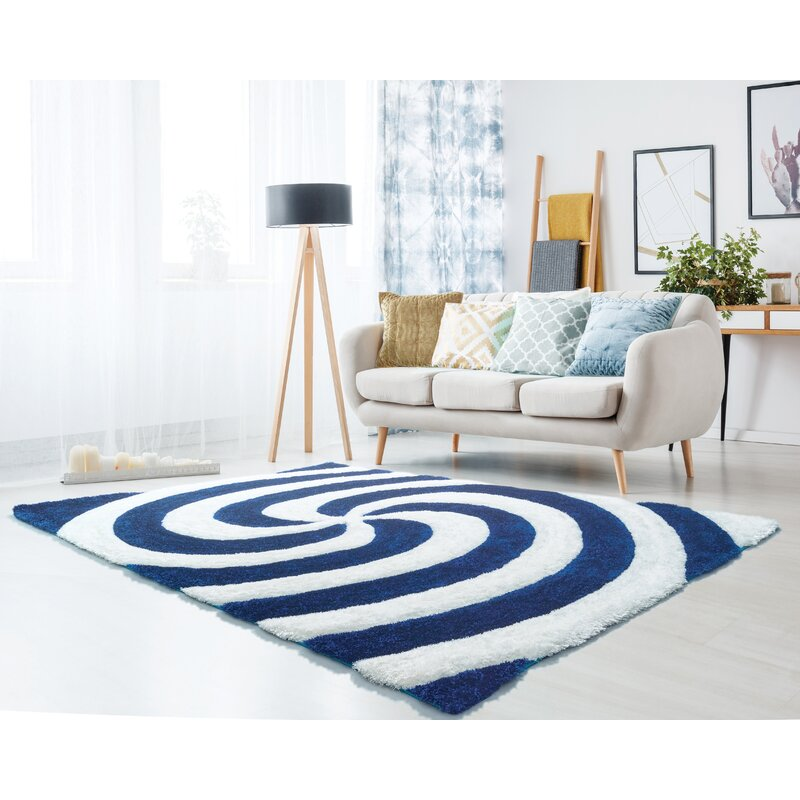 S Navy Blue Pure White Area Rug