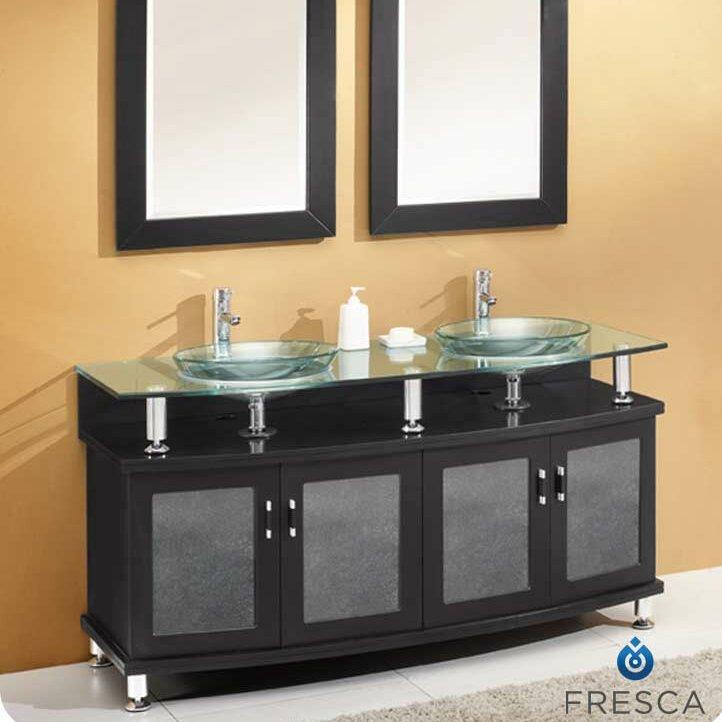 Default nameFresca Classico Contento 60  Modern Double Sink Bathroom Vanity  . Modern Double Bathroom Sink. Home Design Ideas