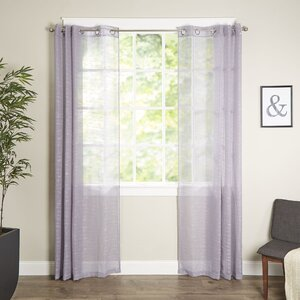 Letterly Solid Semi-Sheer Grommet Single Curtain Panel