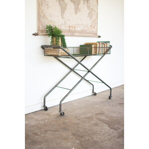 parker rolling metal basket console table - Metal Console Table