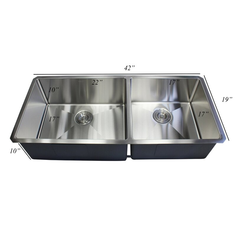 lepe premium stainless steel 42   x 19   double basin undermount kitchen sink with sink lepe premium stainless steel 42   x 19   double basin undermount      rh   jossandmain com