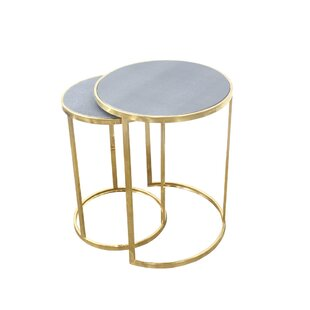 Urbanest Charles Set Of 2 Nesting Tables Faux Reen In Grey With Gold Metal 22 Inch And 20 1 Tall