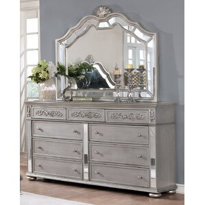 Nicolasa 9 Drawer Dresser with Mirror by Rosdorf Park