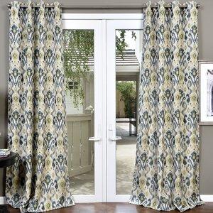 Erica Textured Jacquard Ikat Room Darkening Grommet Single Curtain Panel