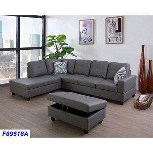 Grey Leather Sectionals You\'ll Love | Wayfair