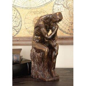 Brown and Brass Thinker Figurine