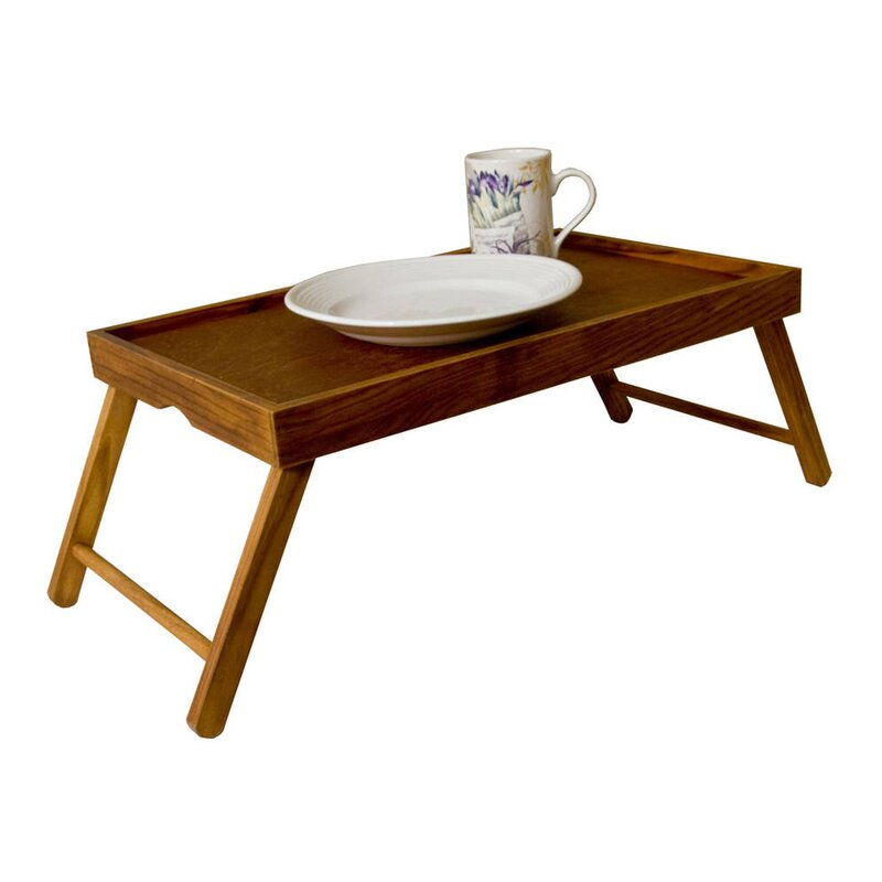 Rustic Pine Wood Folding Legs Breakfast In Bed Food Serving Laptop Tray Table