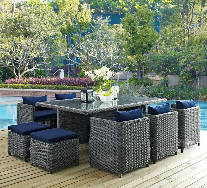 Modway Summon 11 Piece Outdoor Patio Dining Set with Cushion ...