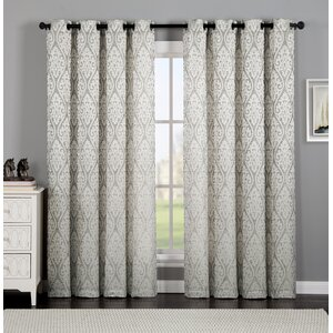 Burns Ikat Semi-Sheer Grommet Single Curtain Panel