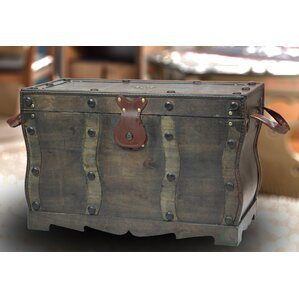 Flynn Antique Style Distressed Wooden Pirate Treasure Chest, Coffee Table  Trunk