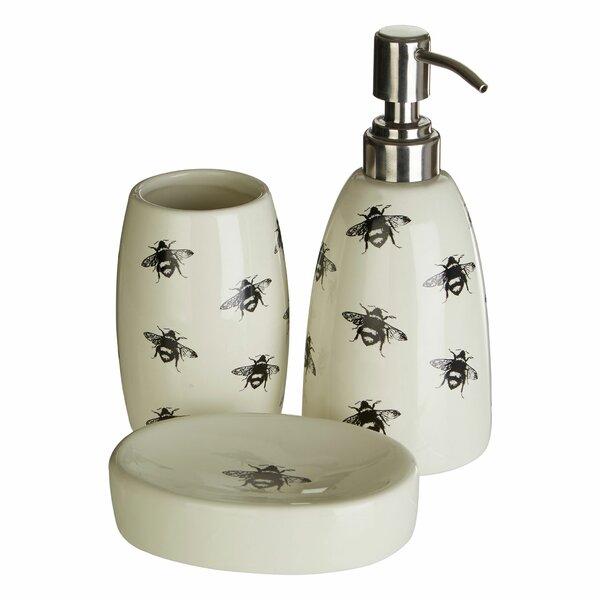 Castleton Home Queen Bee Ceramic 3 Piece Bathroom Accessory Set Wayfair Co Uk