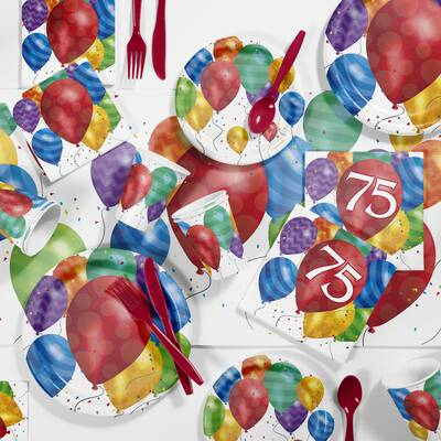 Balloon Blast 75th Birthday Party Paper Plastic Supplies Kit Set Of 81