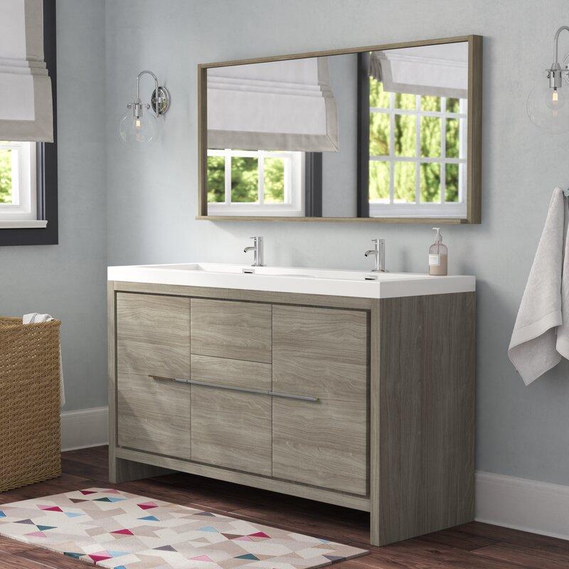 Waldwick 57 Double Modern Bathroom Vanity Set With Mirror