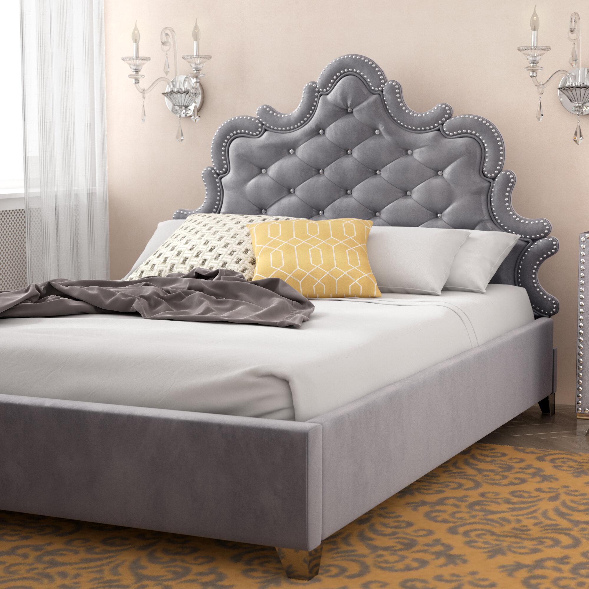 Rosdorf park spence velvet upholstered platform bed reviews wayfair