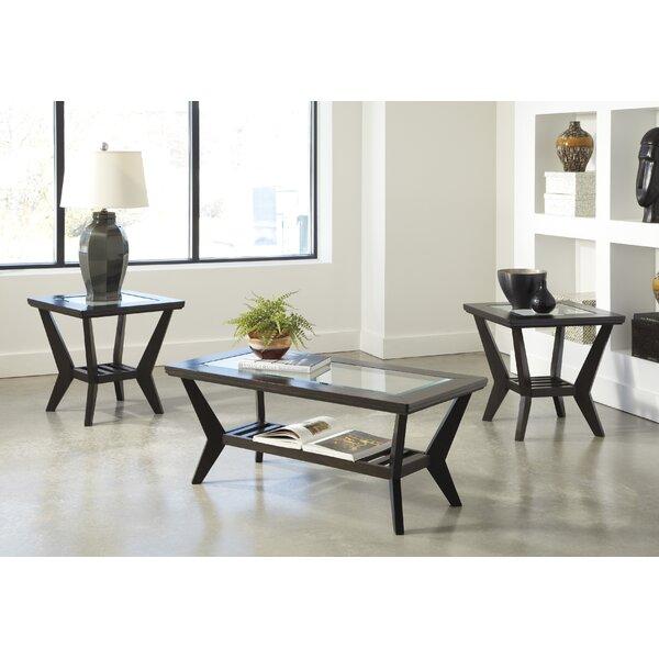 Latitude Run Woodrow 3 Piece Coffee Table Set In Brown Reviews Wayfair