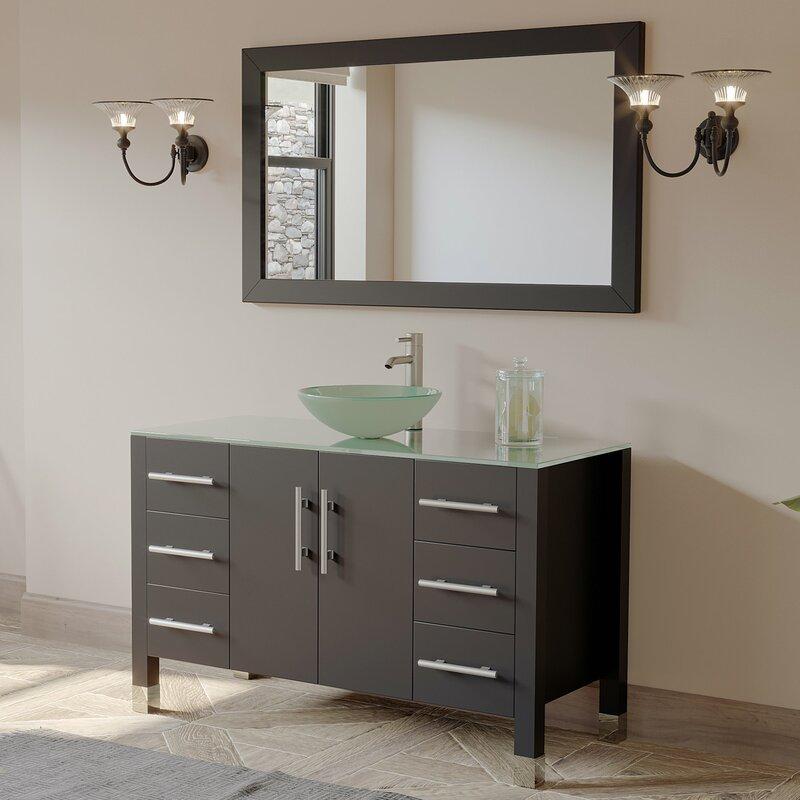 Meserve Solid Wood Gl Vessel 47 Single Bathroom Vanity Set With Mirror