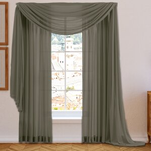 martinson sheer voile window scarf curtain valance antique taupe beige charcoal gray