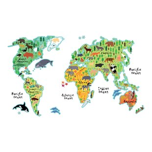 Large world map wall decal wayfair home decor line kids world map wall decal gumiabroncs Gallery