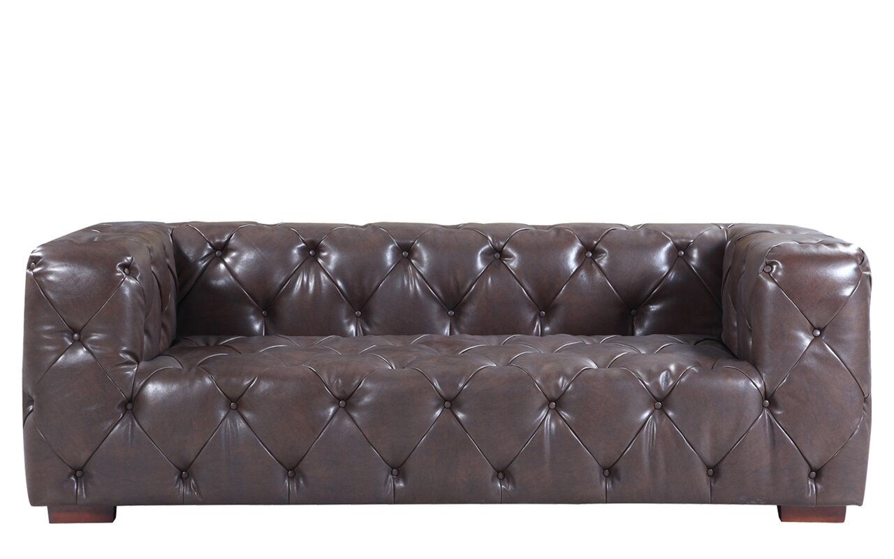 17 Stories Hamlin Modern Tufted Genuine Leather Sofa Reviews  ~ Cheap Tufted Leather Sofa