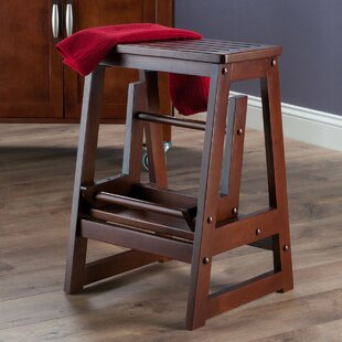 2 Step Wood Step Stool With 200 Lb. Load Capacity