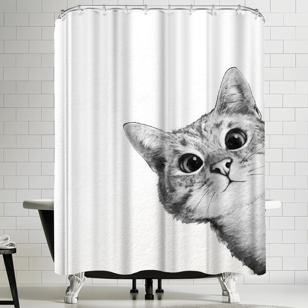 East Urban Home Laura Graves Sneaky Cat Shower Curtain | Wayfair
